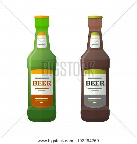 Colored Flat Light And Dark Couple Beer Bottles Illustration.