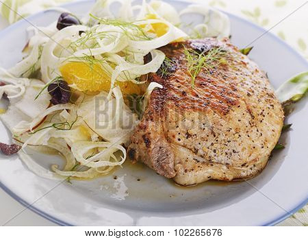 Pork Chops with Fennel Salad,close up