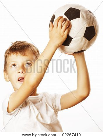 little cute boy playing football ball isolated close up on white