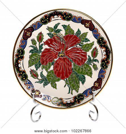 Decorative ceramic plate with Floral Design