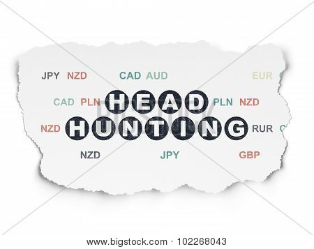 Finance concept: Head Hunting on Torn Paper background