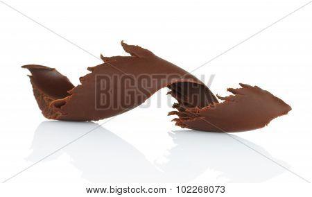 Chocolate shaving on white background