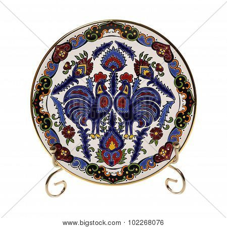 Ceramic plate with roosters and ornament