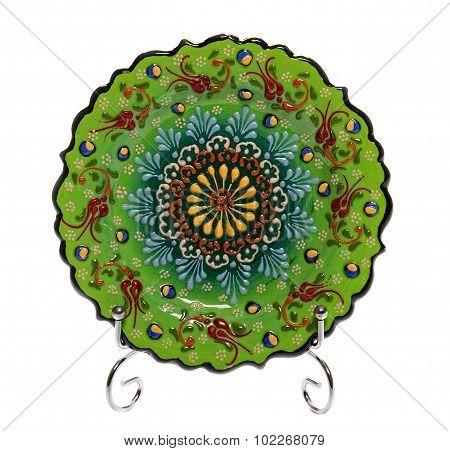 Green decorative ceramic plate