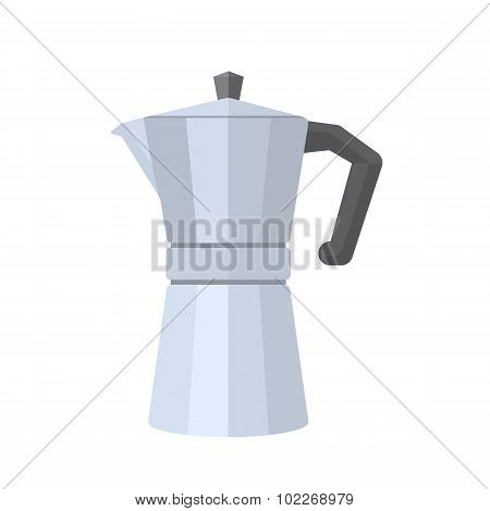 Colored Flat Style Metal Faceted Coffee Pot Illustration.