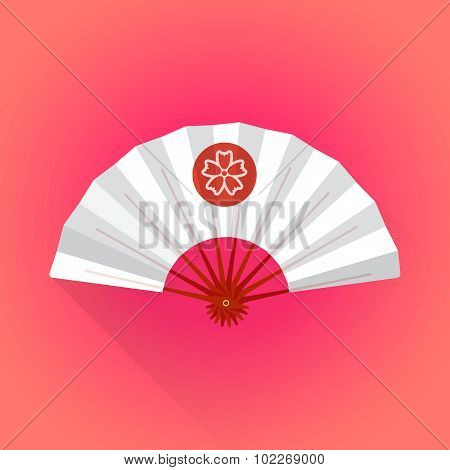 Flat Style White Color Japanese Style Hand Fan Illustration.