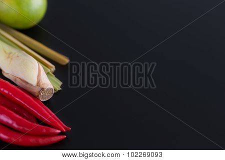 Thai Ingredient Background / Thai Ingredient / Thai Ingredient On Black Background