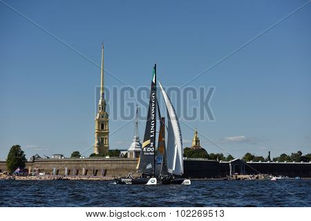 ST. PETERSBURG, RUSSIA - AUGUST 20, 2015: Lino Sonego Team Italia of Italy during 1st day of St. Petersburg stage of Extreme Sailing Series. Red Bull Sailing Team of Austria won the day with 58 points