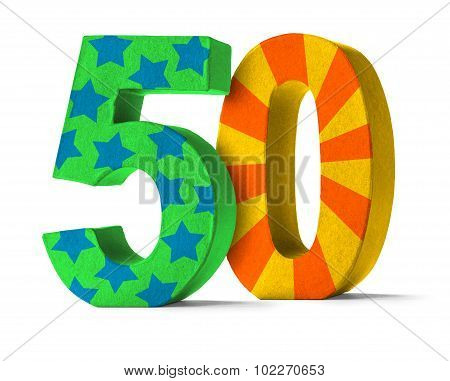 Colorful Paper Mache Number On A White Background  - Number 50