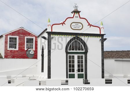 Traditional Azores Chapel Imperio In Pico Island. Azores, Portugal