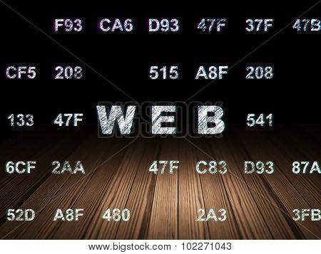 Web development concept: Web in grunge dark room