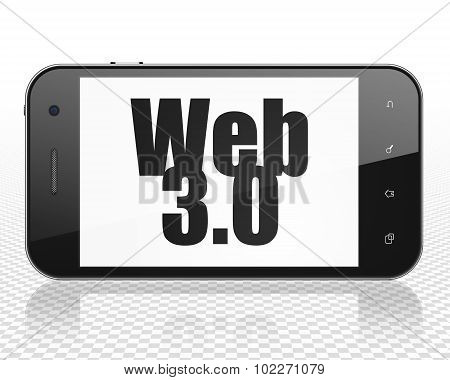 Web design concept: Smartphone with Web 3.0 on display