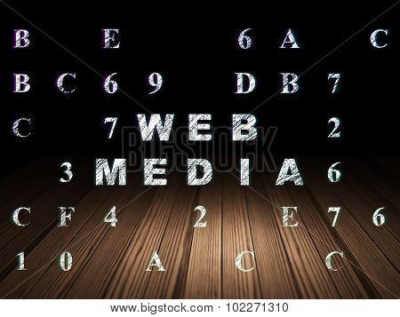 Web design concept: Web Media in grunge dark room