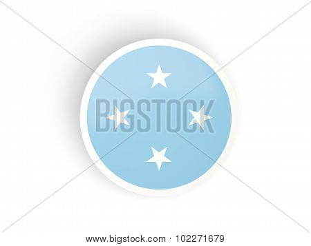 Round Sticker With Flag Of Micronesia