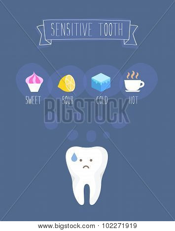 Sensitive tooth flat vector illustration