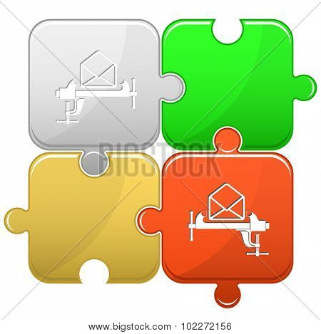 open mail with clamp. Vector puzzle.