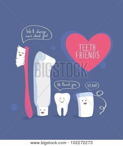 Teeth friends, healthy lifestyle vector