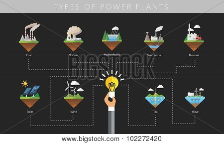 Power plant icon vector symbol set