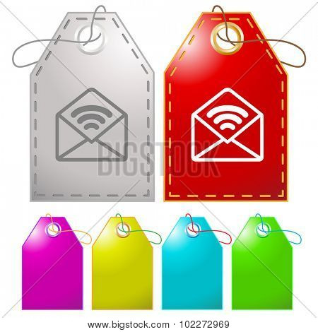 open mail with sound. Vector tags.