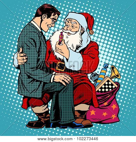 Christmas gift. Santa Claus and businessman