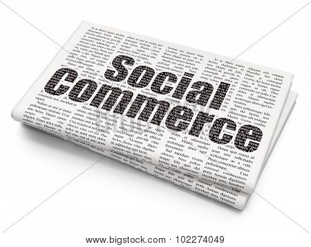 Marketing concept: Social Commerce on Newspaper background