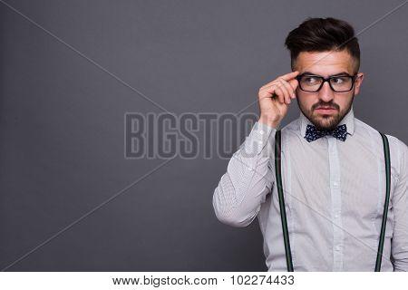 Hipster man in studio