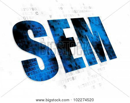Marketing concept: SEM on Digital background