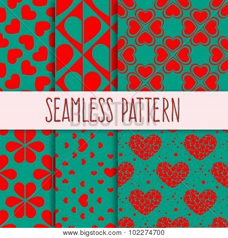 Set of seamless bicolor patterns with hearts