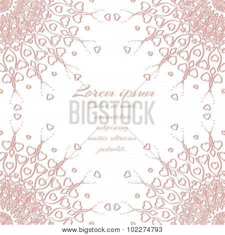 Vector abstract pink invitation design with hearts