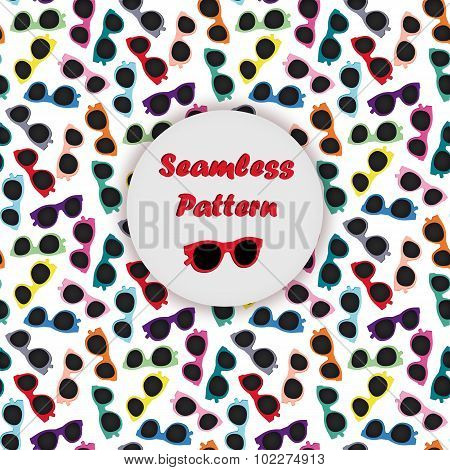 Colorful sunglasses seamless vector pattern