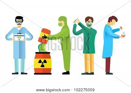Science laboratory vector people. People in laboratory isolated silhouette. Chemist, Medical Doctor, Scientist laboratory, science, research, biologist, nuclear, radioactivity, radiation waste.