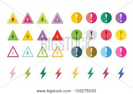 Attention warning sign icons set. Warning vector icons. Warning logo. Exclamation mark. Hazard warning symbol. Triangle warning symbols isolated on white background. Warnimg, attention, stop, electric