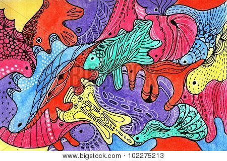 Background Fantastic Animals Hand Drawing Watercolor