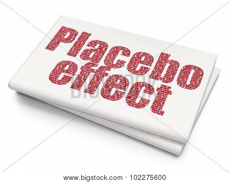 Medicine concept: Placebo Effect on Blank Newspaper background