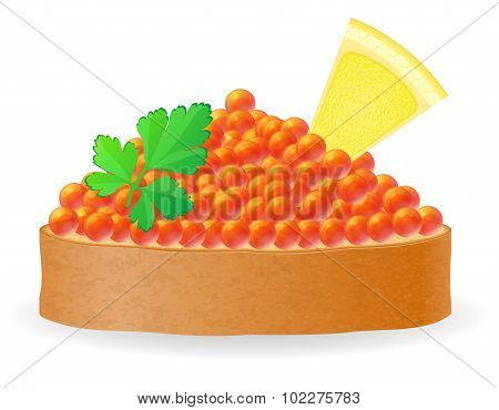 Sandwich With Red Caviar Lemon And Parsley Vector Illustration
