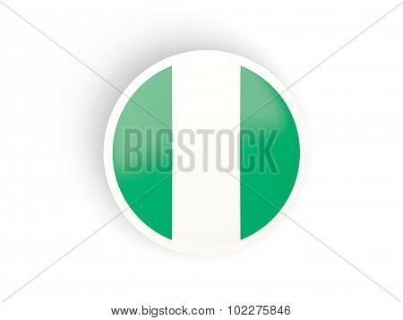 Round Sticker With Flag Of Nigeria
