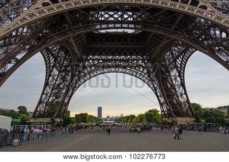 Close-up of the base of the Eiffel Tower