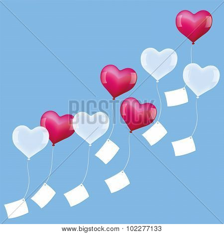 Balloons Wishes Soaring Hearts Pink White