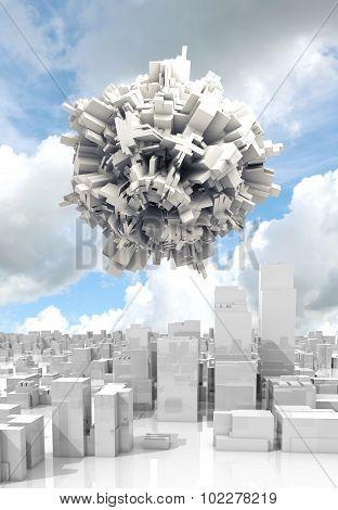 3D Spheric Objecte Flying Over White Cityscape