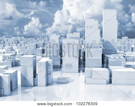Abstract 3D Cityscape, Skyline Of Skyscrapers