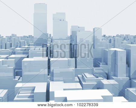 Abstract Digital Cityscape With Tall Skyscrapers