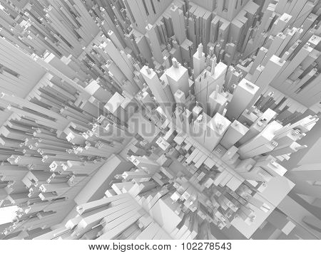 Abstract Futuristic 3D Cityscape Perspective View