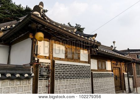 Traditional Korean House Front Gate
