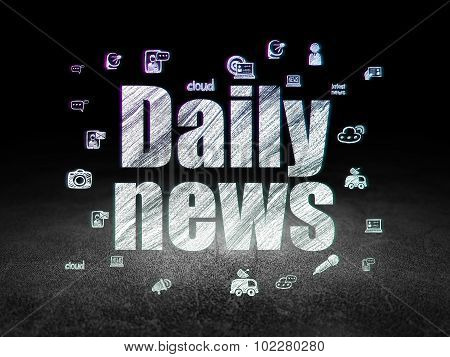 News concept: Daily News in grunge dark room