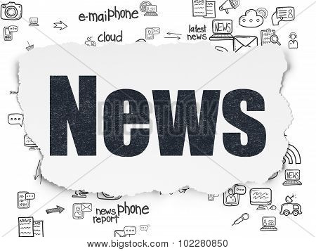 News concept: News on Torn Paper background