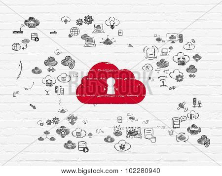 Cloud computing concept: Cloud With Keyhole on wall background