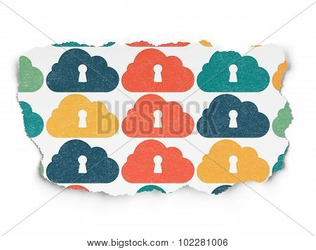 Cloud computing concept: Cloud With Keyhole icons on Torn Paper background
