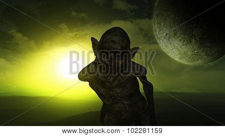 3D Halloween background with evil zombie like demon
