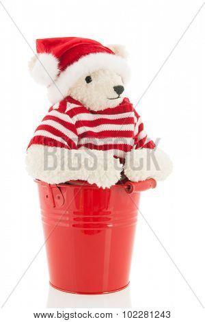 Stuffed Christmas  bear isolated over white background