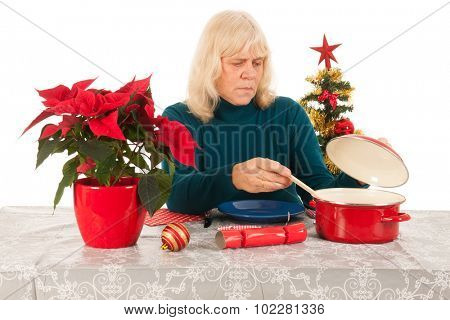 Loneliness in Christmas time for a senior woman